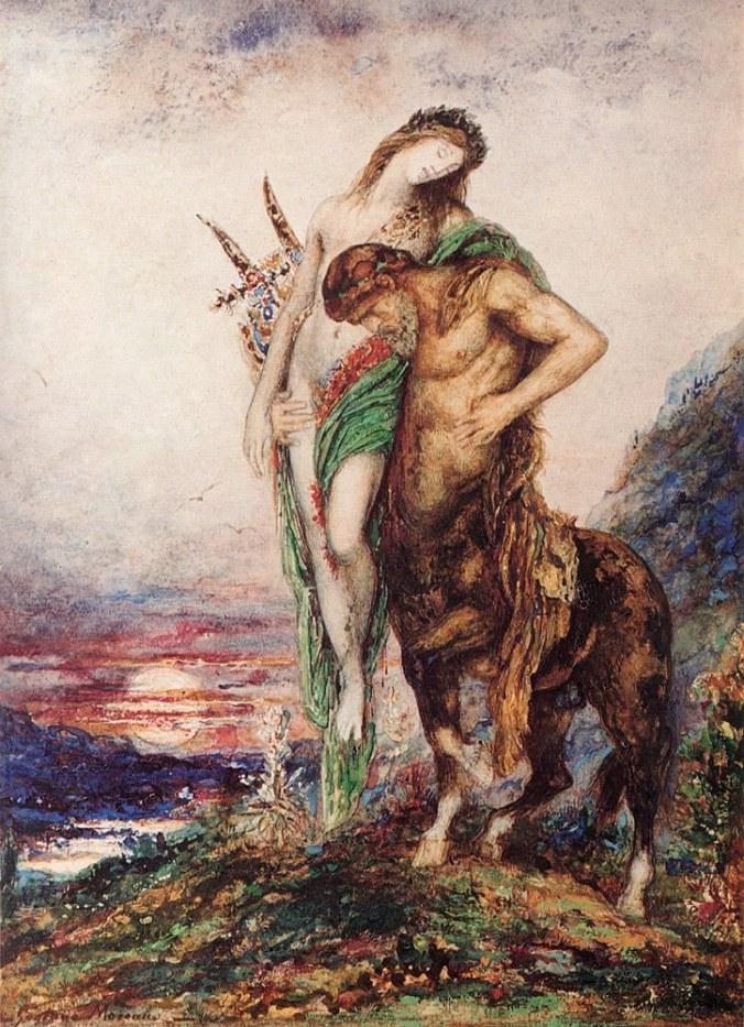 poète mort porté par un centaure