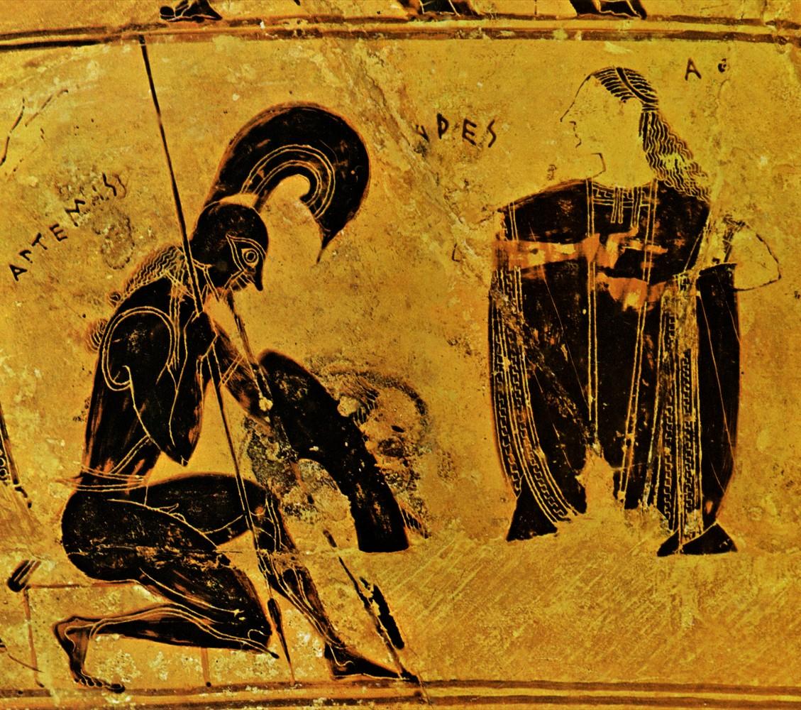 Aries kneels before Aphrodite