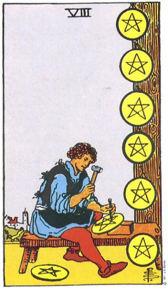 8 of Pentacles by Pamela Colman Smith