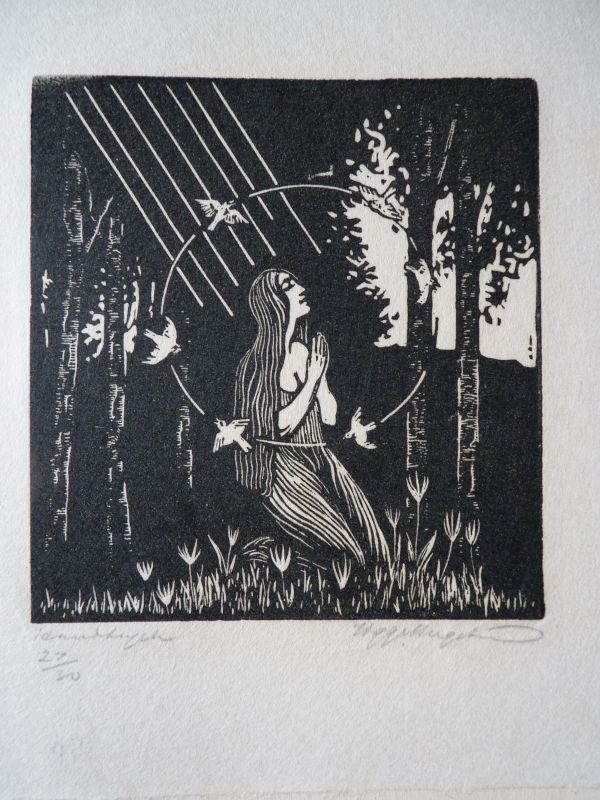 sigge bergstrom woman praying in forest