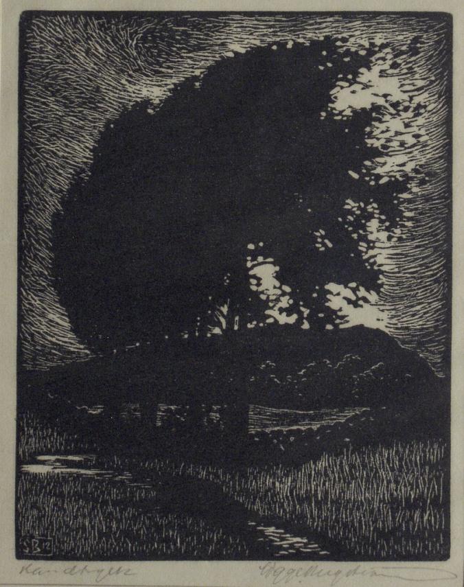 sigge bergstrom woodcut landscape