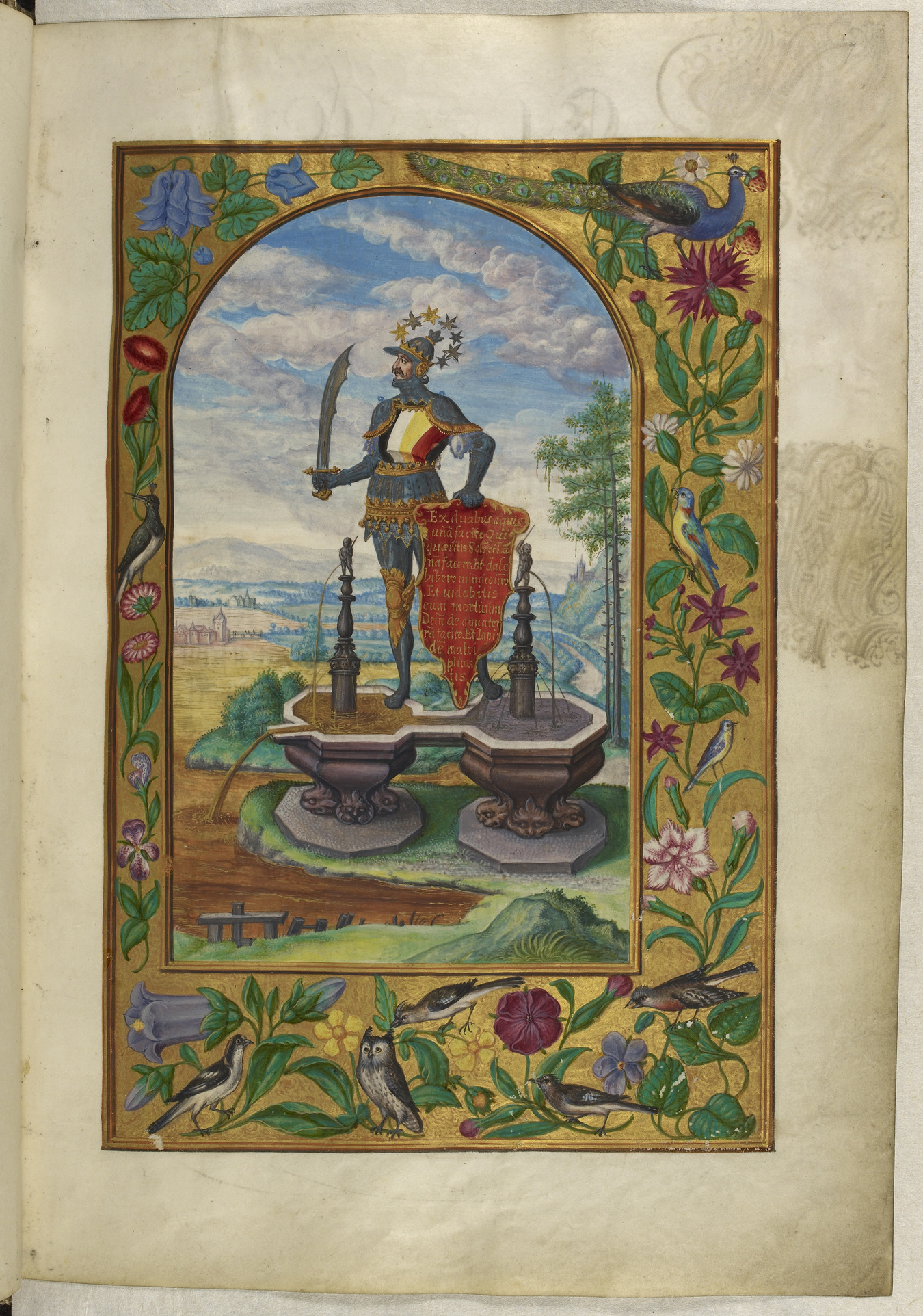 Knight_standing_on_fountains_-_Splendor_Solis_(1582),_f.7_-_BL_Harley_MS_3469