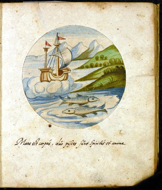 Pisces fish with ship hermetic