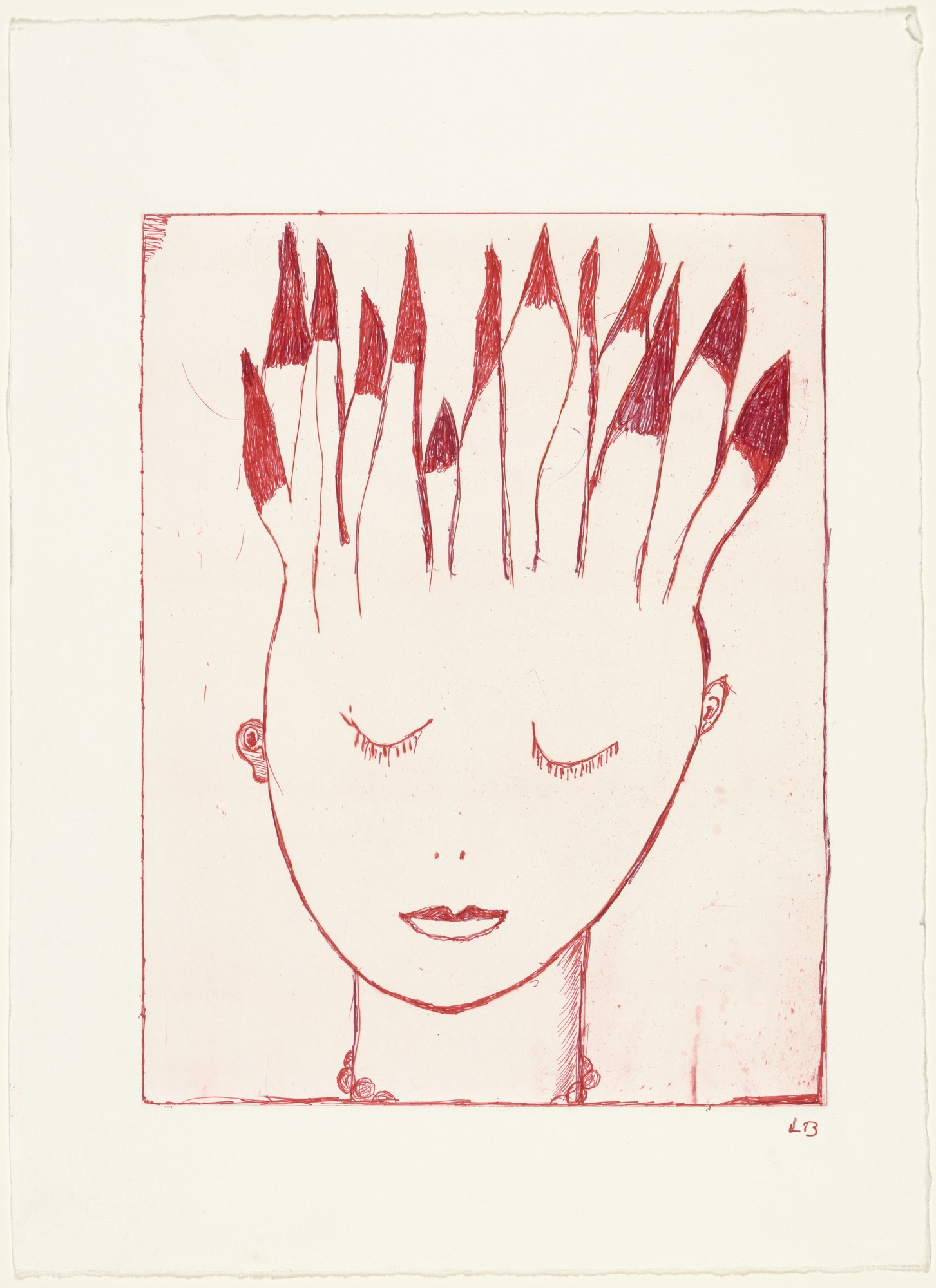Louise Bourgeois head on fire
