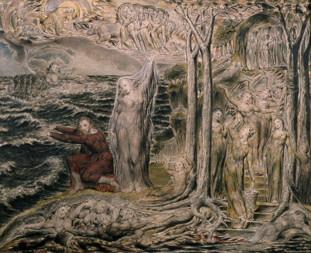 The Sea of Time and Space (Vision of the Circle of the Life of Man) by William Blake (London 1757 - London 1827)
