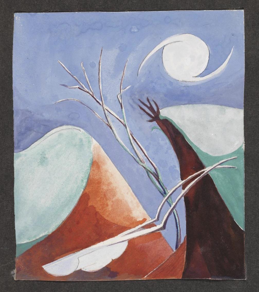 Watercolour showing a surrealist moonlit landscape [c.1927-30] by Ithell Colquhoun 1906-1988