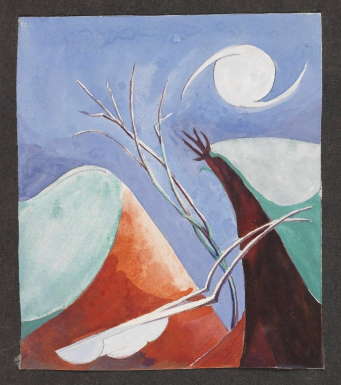 Watercolour showing a surrealist moonlit landscape [c.1927-30] by Ithell Colquhoun 1906-1988