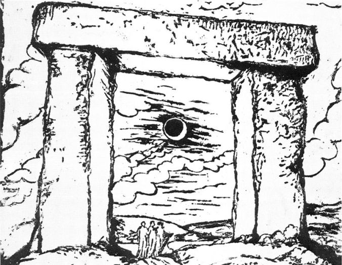 Druids_Trilithon_by_Blake_relief-etching_British_Museum
